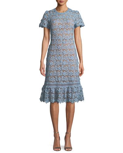 Mixed-Lace Short-Sleeve Dress