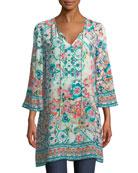 Astrid Floral-Print Silk Tunic