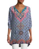 Veera Graphic-Print Silk Tunic, Plus Size