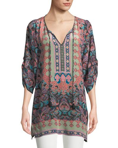 Ariana Paisley-Print Silk Tunic, Plus Size