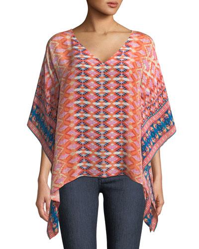 Briyana Graphic-Print Silk Tunic Top