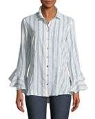 Carmella Striped Ruffle-Sleeve Shirt