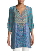 Elora Mixed-Print Embroidered Tunic