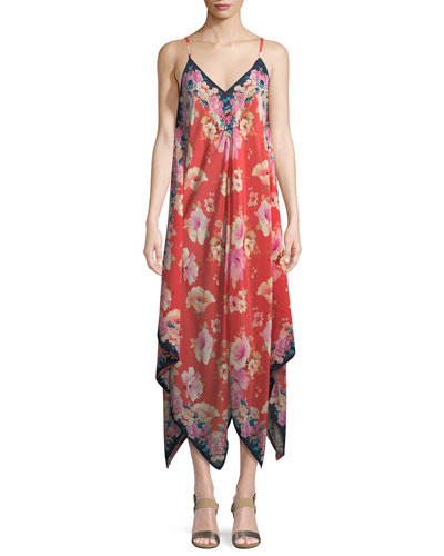 Drew Strappy Floral-Print Silk Handkerchief Dress