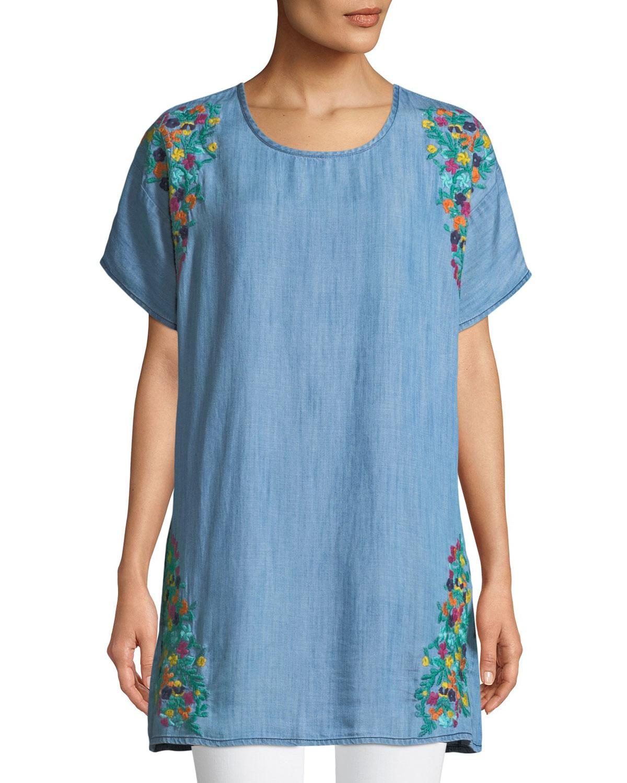 Tiffany Embroidered Denim Tunic, Plus Size
