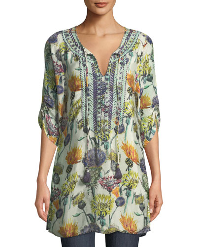 Cecily Floral-Print Tie-Neck Tunic, Plus Size