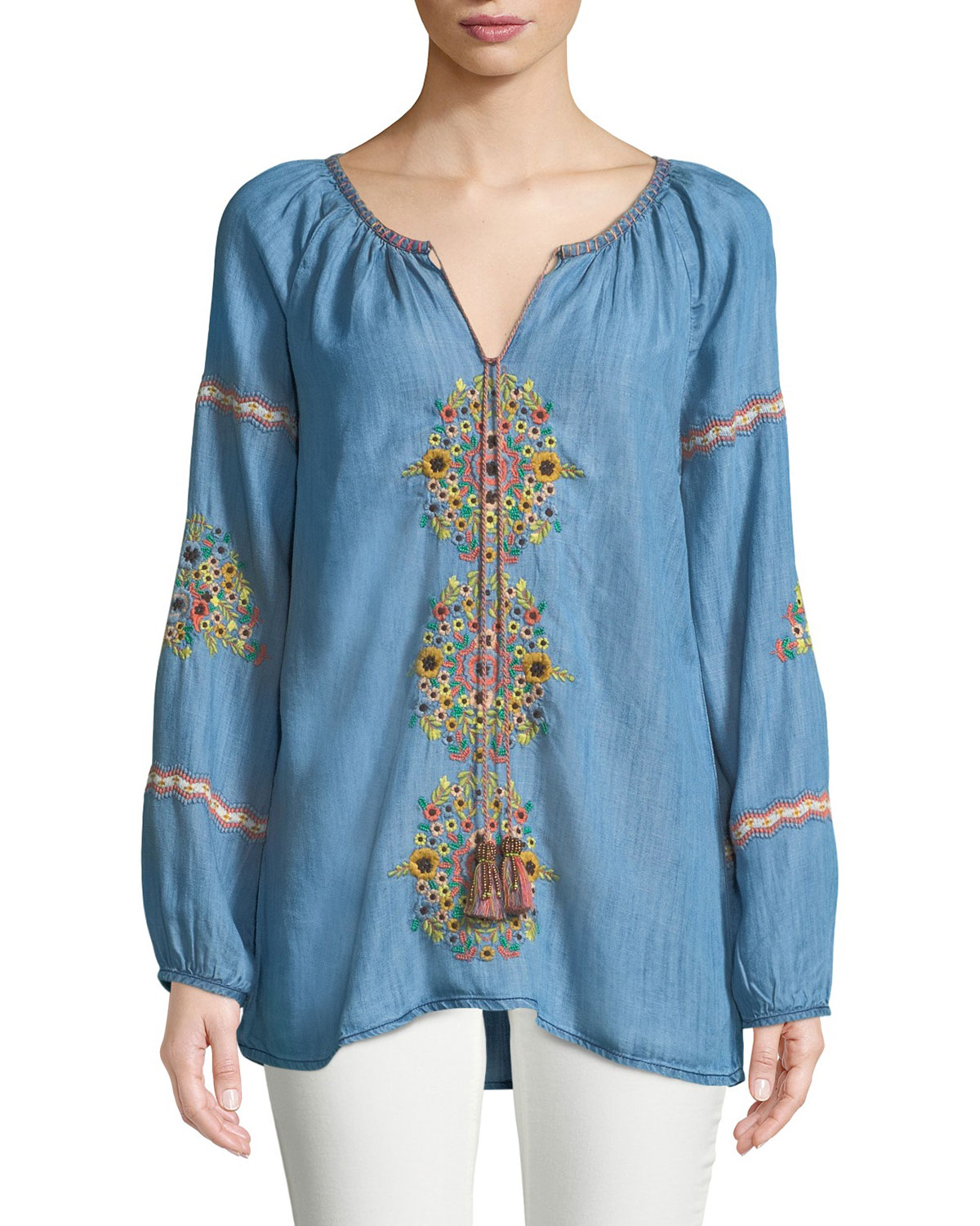 Marie Embroidered Denim Tunic Top, Plus Size