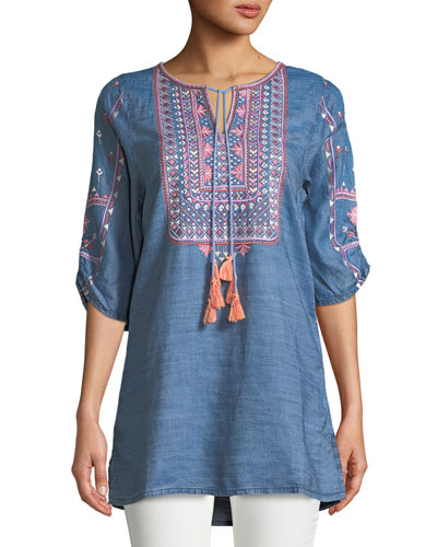 Megha Embroidered Denim Tunic