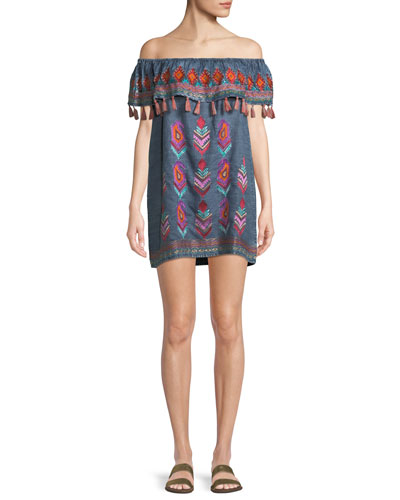 Malani Off-the-Shoulder Embroidered Denim Dress