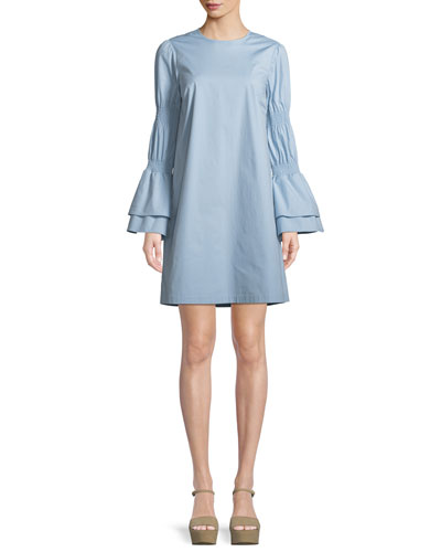 Smock-Sleeve Crewneck Shift Dress