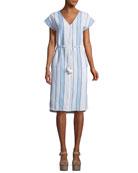 Tapestry Stripe Button-Front V-Neck Dress