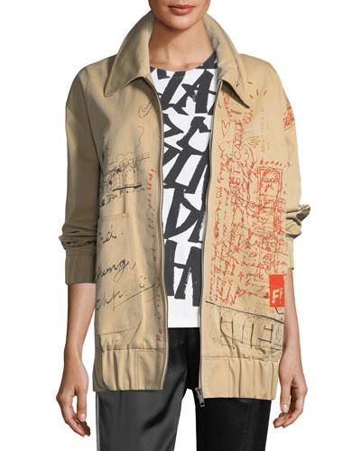 Barnhall Scribble Zip-Front Long Bomber Jacket