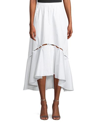 Tabitha A-Line High-Low Cotton Midi Skirt