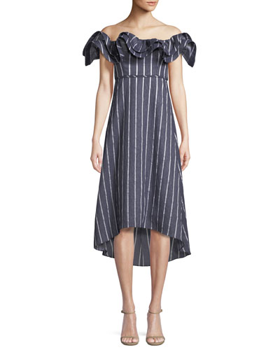 Mirabelle Ruffled Off-the-Shoulder Striped A-Line Dress