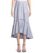 Tabitha Striped High-Low Midi Skirt