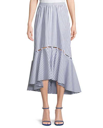 Tabitha Striped High-Low Midi Skirt