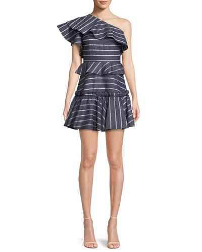 Grettel One-Shoulder Ruffle Striped Mini Dress