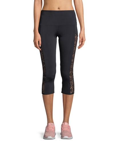 Stunner Capri Leggings with Lace Panels