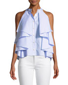 Adrie Sleeveless Button-Front Striped Ruffled Blouse