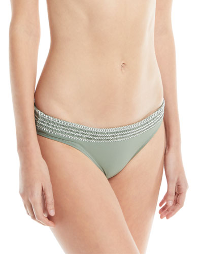 KISUII Solid Swim Bikini Bottoms With Smocking in Olive