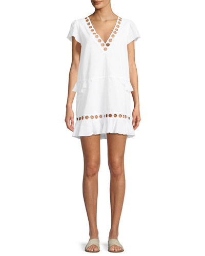 Naomi V-Neck Cap-Sleeve Circle-Cutout Cotton Tunic