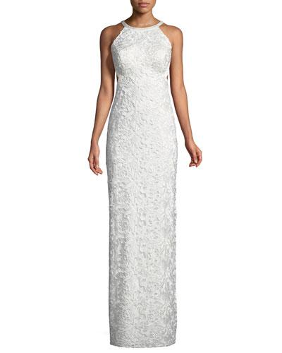 Cutout-Back Lace Halter Gown