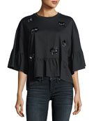 Embellished Loose Ruffle Top