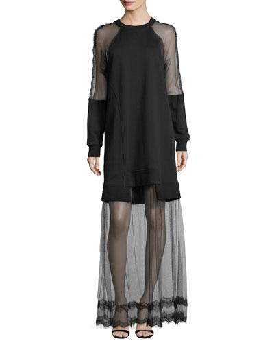 Hybrid Long-Sleeve Sheer Dress
