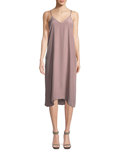 V-Neck Silk Charmeuse Midi Slip Dress