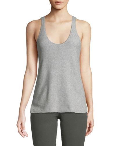 Scoop-Neck Cotton Cashmere Tank