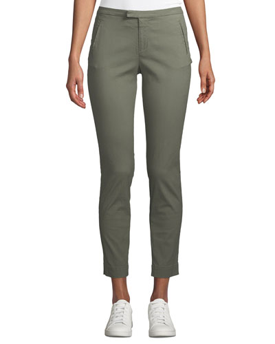 Enzyme Washed Slim Straight-Leg Ankle Pants