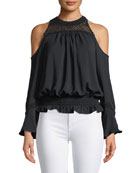 Ella Cold-Shoulder Blouson Blouse