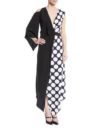 V-Neck Draped One-Sleeve Asymmetric Polka-Dot Cocktail Dress