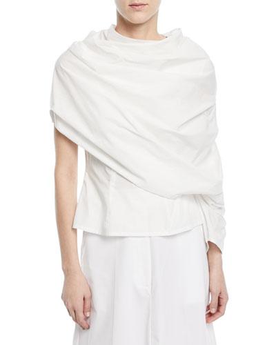 One-Sleeve Draped Cotton Poplin Blouse