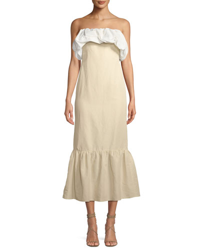 Allegra Ruched Strapless A-Line Linen Dress