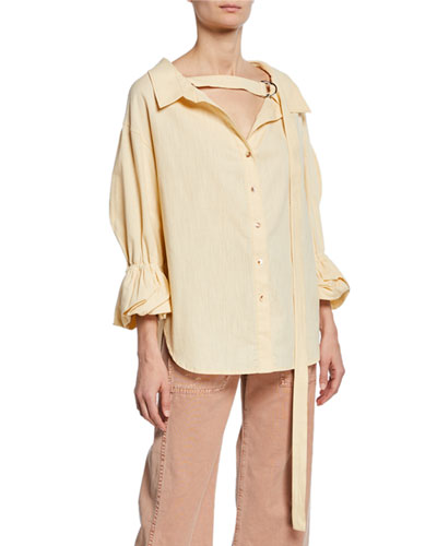 Amber V-Neck Button-Front Linen Shirt