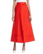 High-Waist Wide-Leg Cotton-Poplin Pant Skirt