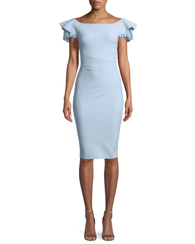 Julienne Tiered-Sleeve Cocktail Sheath Dress