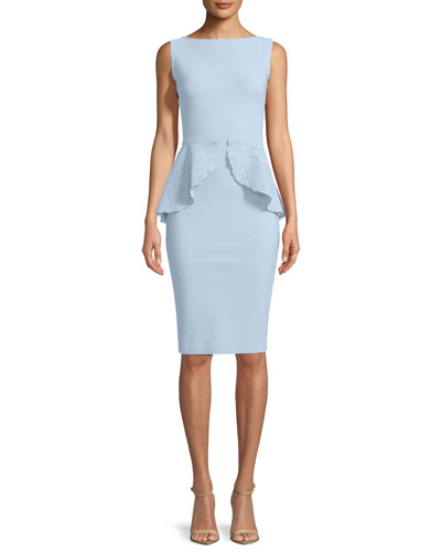 Imma Sleeveless Peplum Sheath Cocktail Dress