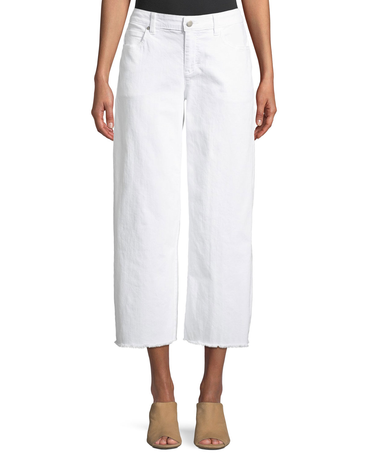 Organic Cotton Garment-Dyed Denim Wide-Leg Ankle Jeans with Raw Edges