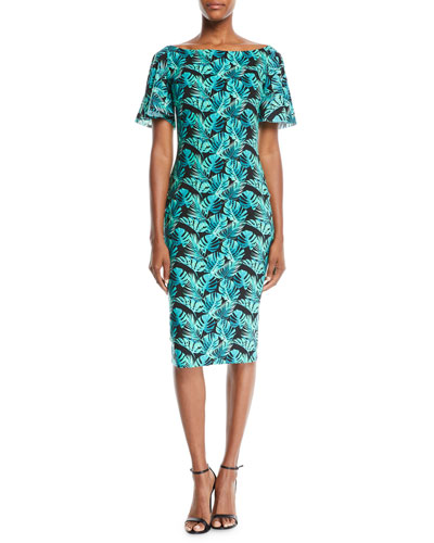 Floral-Print Ruffle-Sleeve Cocktail Sheath Dress