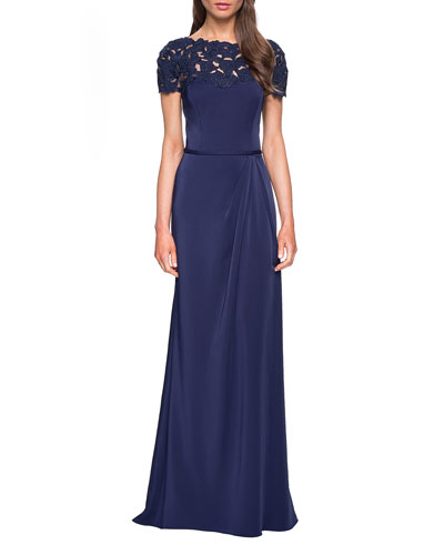 Laser-Cut Flower Jersey Short-Sleeve Gown
