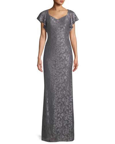 Flutter-Sleeve Metallic Lace Column Gown