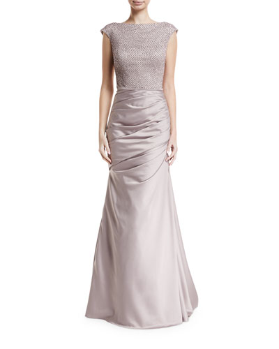Cap-Sleeve Stretch Satin Trumpet Gown