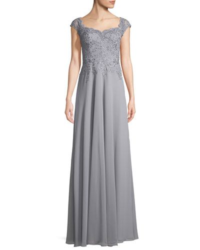 Crepe Chiffon Scoop-Neck Embellished Gown