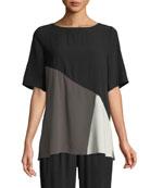 Short-Sleeve Colorblock Silk Top, Petite