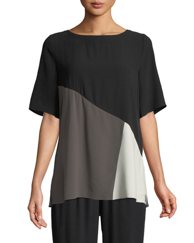Short-Sleeve Colorblock Silk Top, Petite