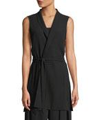 High-Collar Belted Long Silk Vest, Petite