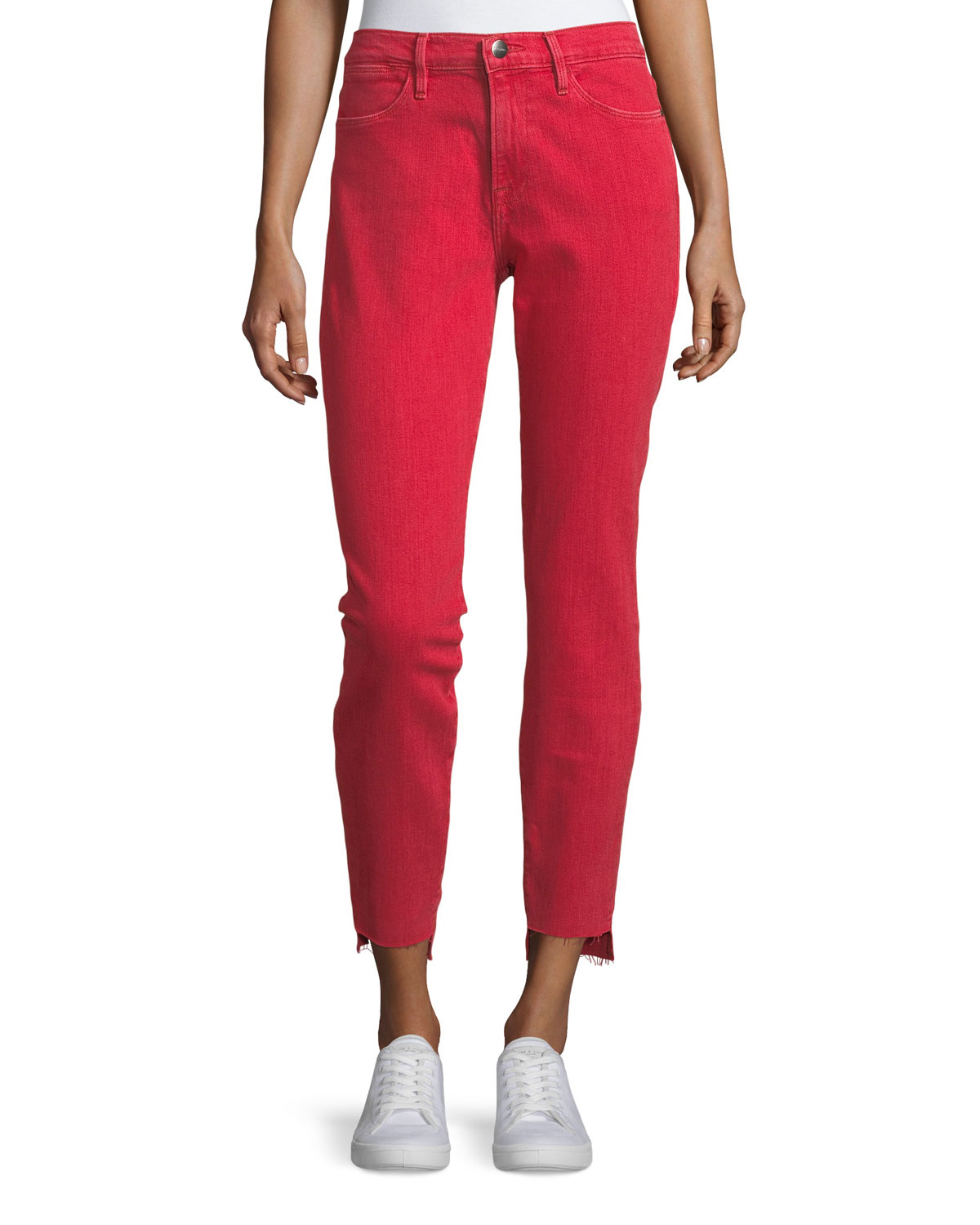 Le High Skinny-Leg Jeans with Raw Stagger Hem