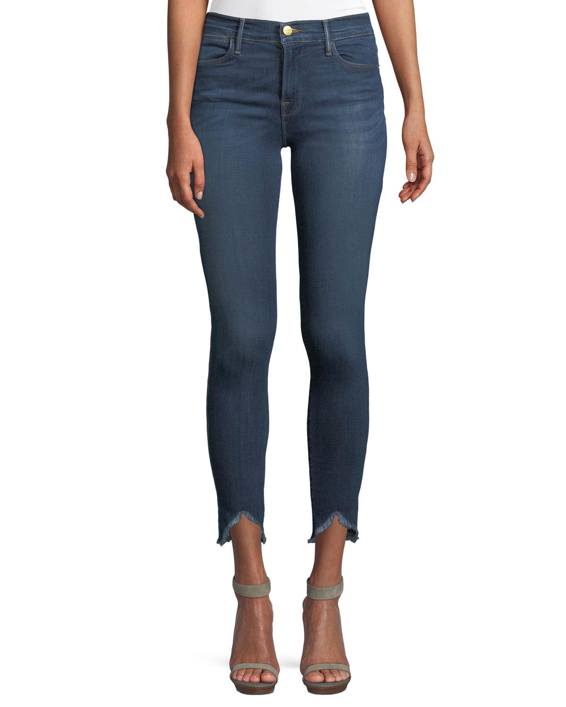 High-Rise Skinny-Leg Jeans w/ Triangle Hem